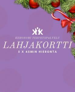 Joululahjaksi hierontaan sarjakortti Kehonomi Kamppi Helsinki